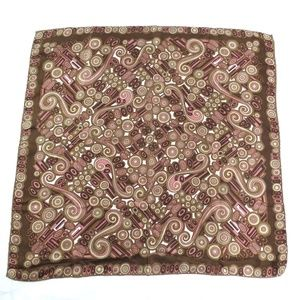 Accessories - Silk Scarf Made in Italy Brown Pink Swirls